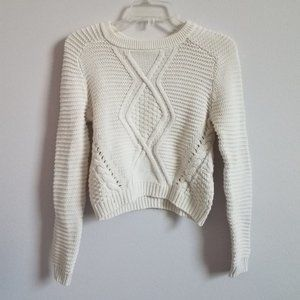 H&M White Ribbed Sweater